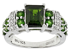 Green Chrome Diopside Sterling Silver Ring 2.67ctw