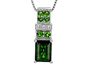 Green Chrome Diopside Sterling Silver Pendant With Chain 1.89ctw