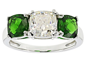 Fabulite Strontium Titanate And Russian Chrome Diopside Sterling Silver Ring 4.06ctw