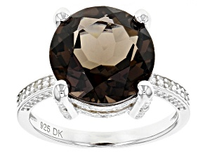 Brown Smoky Quartz Sterling Silver Ring 5.66ctw