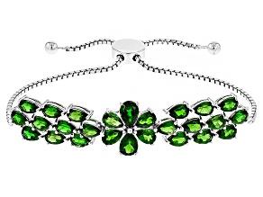 Green Chrome Diopside Silver Sliding Adjustable Bracelet 9.95ctw