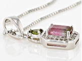Bi-Color Brazilian Tourmaline Sterling Silver Pendant With Chain 1.14ctw