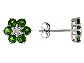 Green Chrome Diopside Rhodium Over Sterling Silver Earrings 1.41ctw