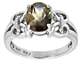 Gray Labradorite Sterling Silver Solitaire Ring 1.50ct