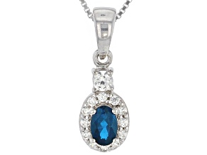 Blue Neon Apatite Sterling Silver Pendant With Chain .74ctw