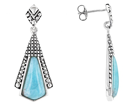 Blue Larimar Sterling Silver Dangle Earrings