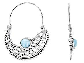 Blue Larimar Sterling Silver Hoop Earrings