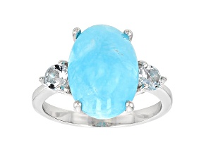 Blue Peruvian Hemimorphite Sterling Silver Ring .39ctw