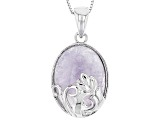 Purple Morado Opal Silver Solitaire Pendant With Chain