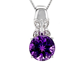 Purple Moroccan Amethyst Sterling Silver Pendant With Chain 4.08ctw
