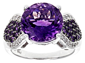 Purple African Amethyst Sterling Silver Ring 4.41ctw