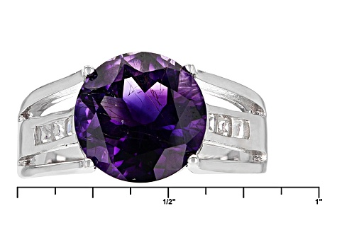 Purple Amethyst Sterling Silver Ring 4.27ctw