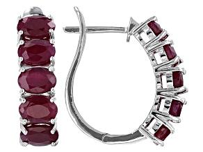 Red indian Ruby Sterling Silver Hoop Earrings 5.85ctw