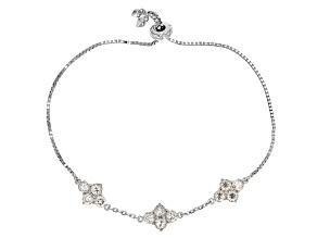 White Strontium Titanate Sterlng Silver Bolo Bracelet 4.80ctw