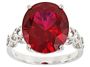 Picture of Red Lab Created Ruby Rhodium Over Sterling Silver Solitaire Ring 8.08ct