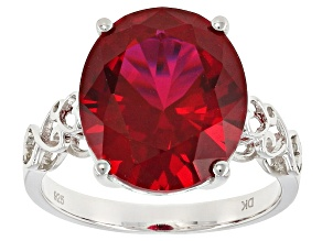 Red Lab Created Ruby Rhodium Over Sterling Silver Solitaire Ring 8.08ct