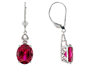 Red Lab Created Ruby Rhodium Over Sterling Silver Dangle Earrings 7.26ctw