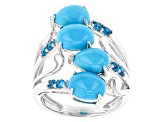 Blue Turquoise Sterling Silver Ring .30ctw