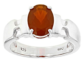 Orange Oregon Fire Opal Sterling Silver Solitaire Ring 1.00ct