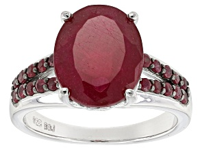 Mahaleo Ruby Sterling Silver Ring 7.14ctw
