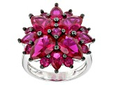 Red Lab Created Ruby Sterling Silver Ring 7.22ctw