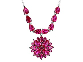 Red Lab Created Ruby Sterling Silver Necklace 15.92ctw