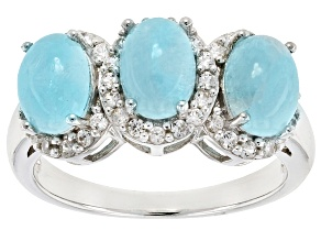 Blue Hemimorphite Sterling Silver 3-Stone Ring .46ctw