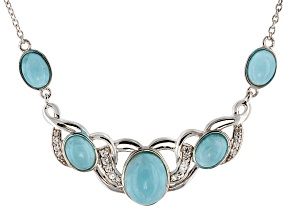 Blue Hemimorphite Sterling Silver Necklace .24ctw