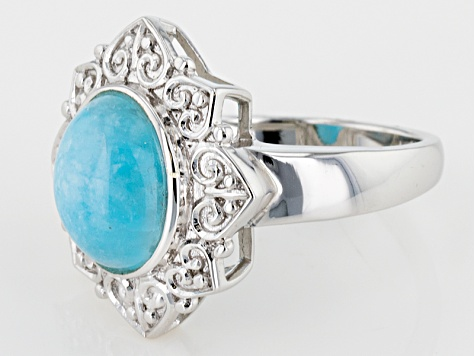 Blue Hemimorphite Sterling Silver Solitaire Ring