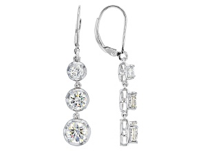 White Lab Created Strontium Titanate Sterling Silver Earrings 4.37ctw