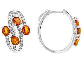 Orange Kyanite Sterling Silver Hoop Earrings 3.29ctw