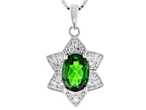 Green Chrome Diopside Sterling Silver Pendant With Chain 1.13ctw