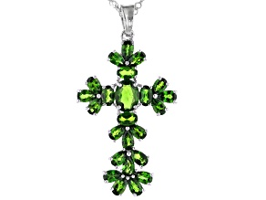 Green Chrome Diopside Rhodium Over Sterling Silver Cross Pendant With Chain 6.67ctw