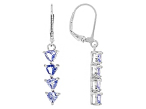 Blue Tanzanite Sterling Silver Earrings 1.49ctw