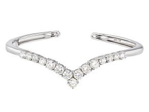 White Strontium Titanate Sterling Silver Cuff Bracelet 8.13ctw