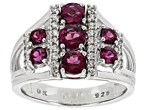 Purple Rhodolite Sterling Silver Ring 1.64ctw