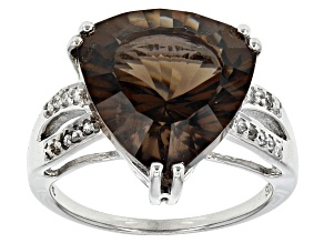 Brown Smoky Quartz Sterling Silver Ring 6.65ctw