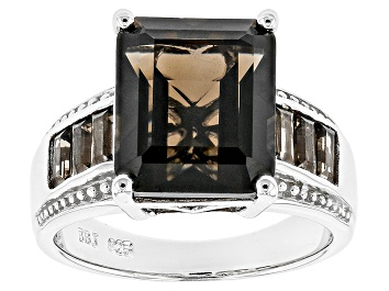 Picture of Brown Smoky Quartz Rhodium Over Sterling Silver Ring 6.58ctw