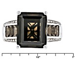 Brown Smoky Quartz Rhodium Over Sterling Silver Ring 6.58ctw