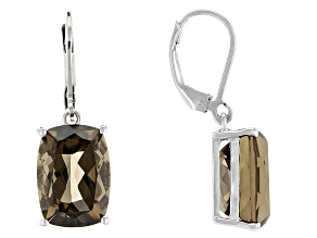 Brown Smoky Quartz Rhodium Over Sterling Silver Earrings 13.00ctw