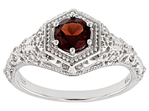 Red Garnet Rhodium Over Sterling Silver Solitaire Ring .92ct