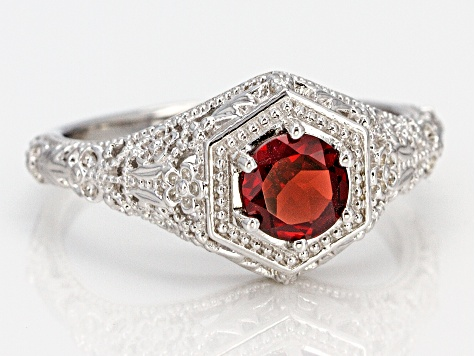 Red Garnet Sterling Silver Solitaire Ring .92ct