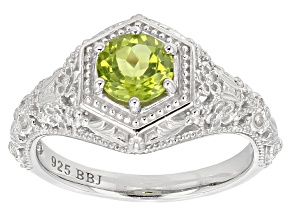 Green Peridot Rhodium Over Sterling Silver Solitaire Ring .82ct