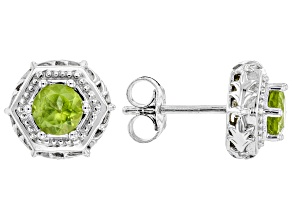 Green Peridot Rhodium Over Silver Stud Earrings 1.02ctw