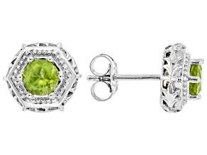 Green Peridot Rhodium Over Silver Stud Earrings 1.02ctw