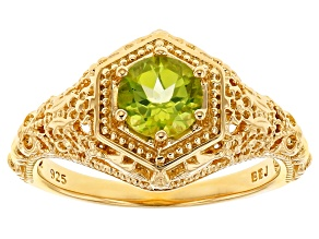 Green peridot 18k gold over silver ring .82ct