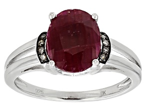 Red indian Ruby Sterling Silver Ring 3.35ctw