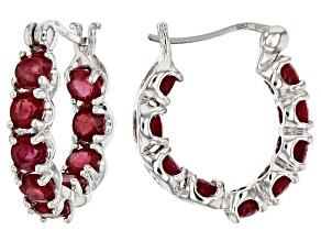 Red Ruby Sterling Silver inside/Outside Hoop Earrings 6.48ctw