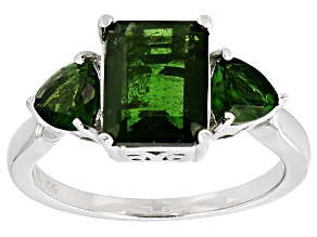 Green Chrome Diopside Sterling Silver Ring 3.35ctw