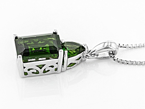 Green Chrome Diopside Sterling Silver Pendant With Chain 2.85ctw